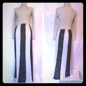 Vintage silver black turtleneck maxi shiny dress